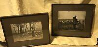 """Vintage Geo U. Gairing Chicago Sepia Shepard Framed Prints (2) 12 1/2 X 9 1/2"""""""