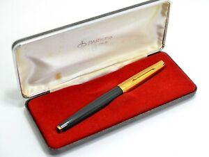 Vintage Parker 61 MKII Dark Grey Fountain Pen w/Case, NOS, Rare! Argentina #CM59