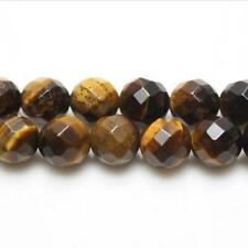 Tiger Eye Faceted Round Beads 8mm Yellow/Brown 45+ Pcs Gemstones DIY Jewellery