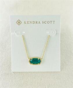 Kendra Scott Elisa Emerald Cat's Eye Gold Necklace