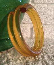 VINTAGE YELLOW GOLD CLEAR TRANSPARENT JELLO LUCITE COIL TUBE BANGLE BRACELET