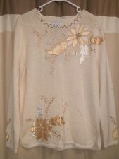 Beautiful Floral M Med Medium Holiday Sweater Beaded Poinsettia Gold Cream NWT