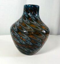 Handblown glass vase  brown with white swirls