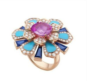 14k Rose Gold over 925 Sterling Silver Flower Ring Turquoise & CZ Luxury Solid