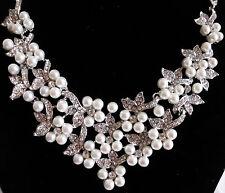 Halsschmuck Kette Halskette Collier Braut Hochzeit Perlen Strass silberfarben