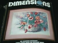 "New Dimensions Cross Stitch Kit Spring Tulips 16"" x 12"" Printed Fabric  -V #"