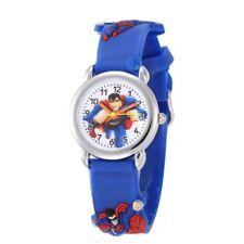 Superman Armbanduhr für Jungen, Analog, Quarz, Armband aus Gummi, Blau