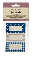 Kitchen Craft JAR LABELS Stitched Stripes self adhesive Jam Jar Pot GIFT tag