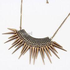 Vintage  Goth Punk Rivet Tassels Bib  Necklace Long Chain