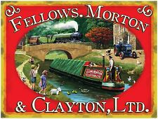 Vintage Advertising Canal Barge Steam Train Old Tractor Medium Metal/Tin Sign