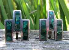 Arte En Plata Sterling Silver 925 Turquoise Inlay Earrings Taxco Mexico Mexican