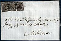 1854 - Lettera da Parma a Modena resa franca con striscia di 3 da cent.10 (n.2)