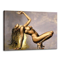 Original Oil Painting Print On Canvas modern Deco Wall Art SEXY GIRL Frame