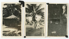 LOT OF 6 SNAP SHOT PHOTOS - TROPICAL LOCATION, PALM TREES, TENT, SHIPS AT SEA