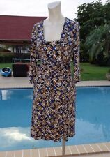 DIANE VON FURSTENBERG Dutch Silk Jersey Wrap 3/4 SLEEVE CASUAL WRAP DRESS Sz 8
