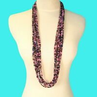 "34"" Multi Strand Purple Pink Color Bali Boho Style Handmade Seed Bead Necklace"