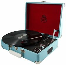Blue GPO Attache Case Record Player Turntable with Free USB Stick