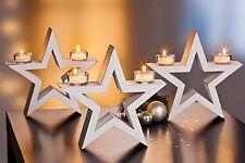 Teelichthalter Stern ,Tischdekoration  3 er Set Sterne  Holz mit Shabby-Finish