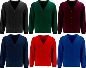 GIRLS Women's Cardigan Button Front Unisex School Uniform Fleece Cardigan Jumper