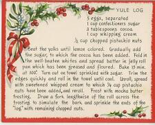VINTAGE CHRISTMAS YULE LOG PISTACHIO CAKE RECIPE 1 WINTER SNOW GARDEN BEE CARD
