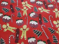 Rojo Hombres De Jengibre, bastón caramelo, Navidad Tejido Estampado Polialgodón