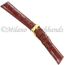 19mm Morellato Tan Genuine Crocodile Padded Stitched Mens Watch Band