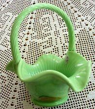 """2008 Fenton Chameleon Green """"Copper Leaves"""" Glass Basket"""
