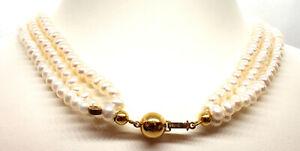 Schoeffel Perlenkette Collier 3-Reihig mit 750 / 18kt Gelbgold Verschluss