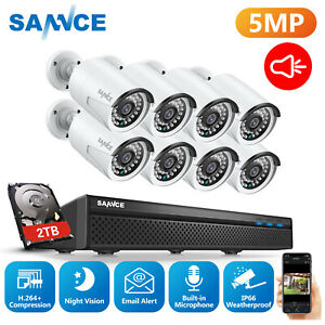 SANNCE 8CH 5MP HD NVR CCTV IP Security POE Camera System Home Outdoor Network 2T
