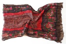 Brown Red Floral Print Long Crinkled Cotton Scarf (A24)