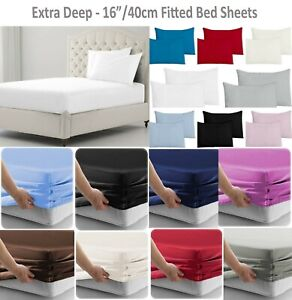 """Extra Deep Fitted Sheets 40CM/16"""" Single 4ft Double Super King Sizes Bed Sheets"""