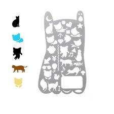 Cute Cat Hollow-Out Metal Drawing Template Metal Ruler Stationery DIY Crafts
