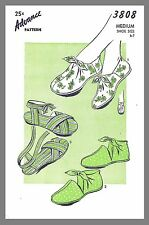 Vintage Advance Slippers Tie On Shoes Fabric Material Sew Pattern Size 6-7 #3808