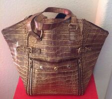 YSL WOMANS $42000 GOLD CROCODILE DOWNTOWN BAG LTD. PRE OWNED ITALY 🇮🇹