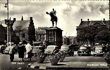 Den Haag Niederlande Postkarte ~1950/60 Standbeeld Willem Reiterstatue Autos