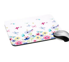 Mouse Pad Floral Butterfly Print Mouse Pad White Typing Computer Laptop Pad