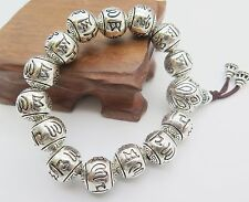New Fine Pure S925 Silver Bracelet Man's 14mmW Bless Maxim Bead Link Chain 86.4g