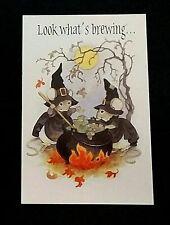 Vintage *Unused* Halloween Invitation: Pair Of Mice Stirring Bubbly Cauldron