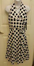 New Donna Ricco Black & White Polka Dot Halter Dress Size 10 Medium NWT $119
