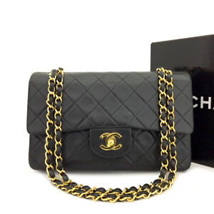CHANEL Double Flap 23 Quilted CC Logo Lambskin w/Chain Shoulder Bag Black/90187