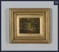 Immagine antico dipinto ad olio scena di paese Foresta Autunnale Joseph Thors c.1870