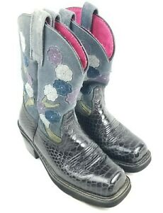 Ariat 16209 Women's 7 B Black & Gray Suede Floral Square Toe Western Ride Boot
