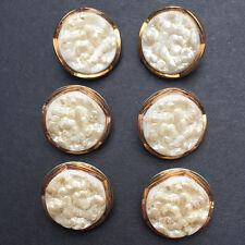 6 Gorgeous Vintage White + Gold Deco 1.8cm Glass Flower Buttons