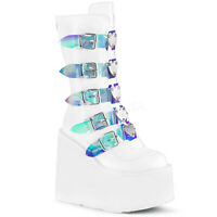 Demonia SWING-230 Women's White Vegan Leather 5 Buckle Platform Mid-Calf Boots