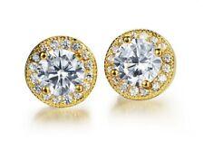 Men Women Sterling Silver Gold Round Cubic Zirconia Ear Studs Earrings 8mm A1