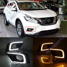 2x White+Amber j LED DRL Daytime Running Lamp Light For Nissan Murano 2015-16