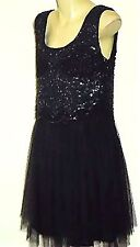 CAROLINE MORGAN SequinEmbellishedBlackTulleParty Sz12