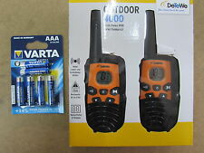 NEU DeTeWe OUTDOOR 4000  2er Set PMR-Funkgeräte  + 6 Batterien Varta