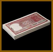 India 2 Rupees x 100 Pcs Bundle, 1985-1990 P-53Ad Letter B Sig# 85 Staples Unc