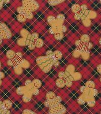 Christmas Fabric - Gingerbread Man Toss Red Plaid - Hi-Fashion Fabric YARD